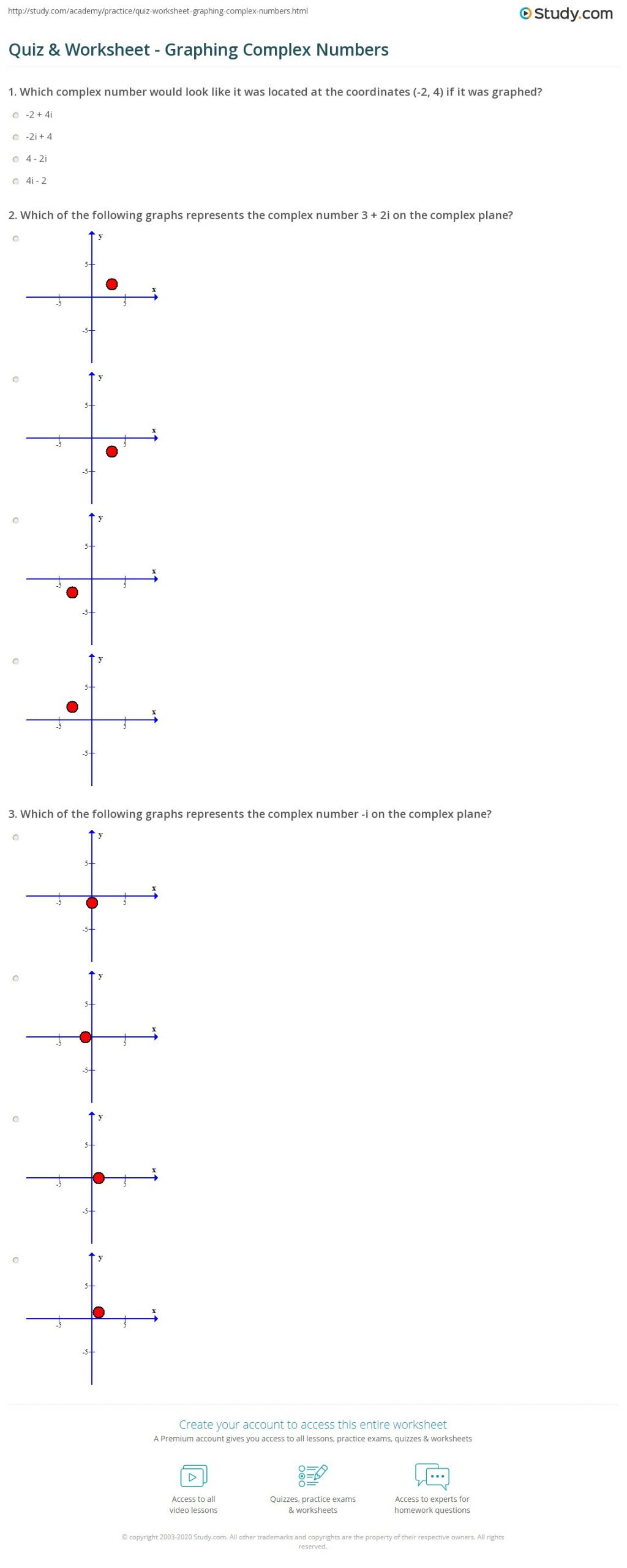 Operations with Complex Numbers Worksheet