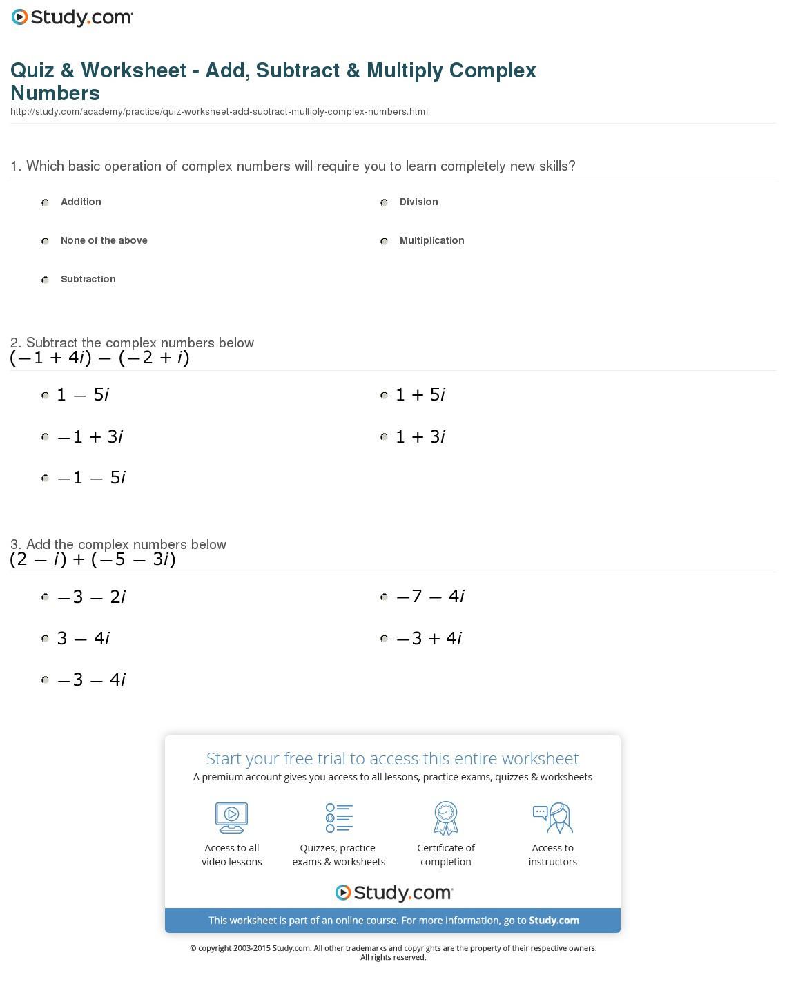 plex Numbers Worksheet