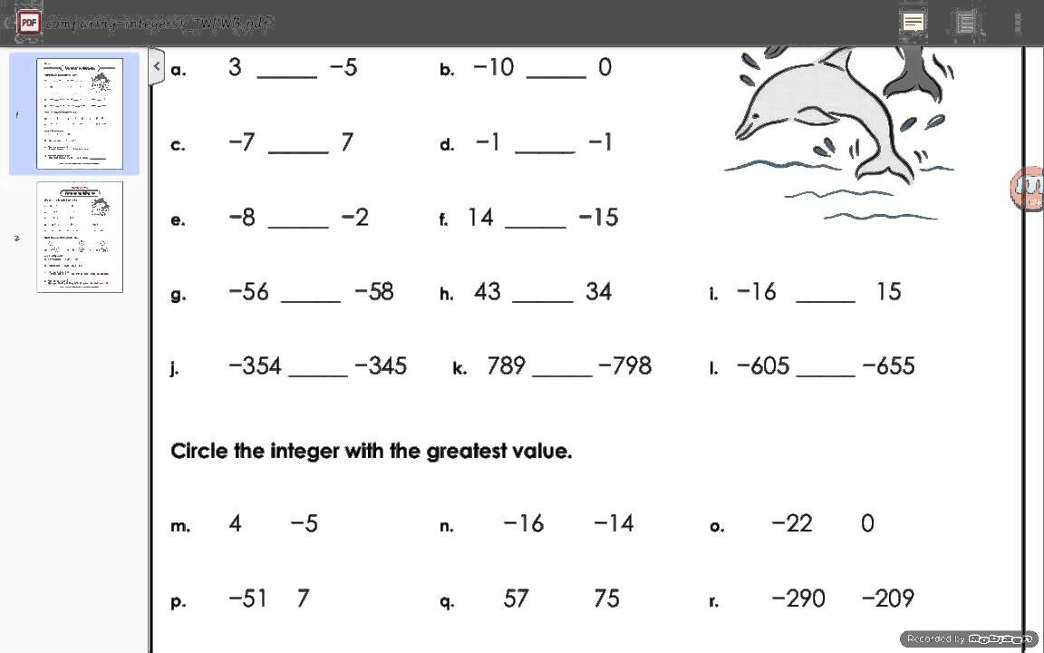 Operations with Integers Worksheet Pdf