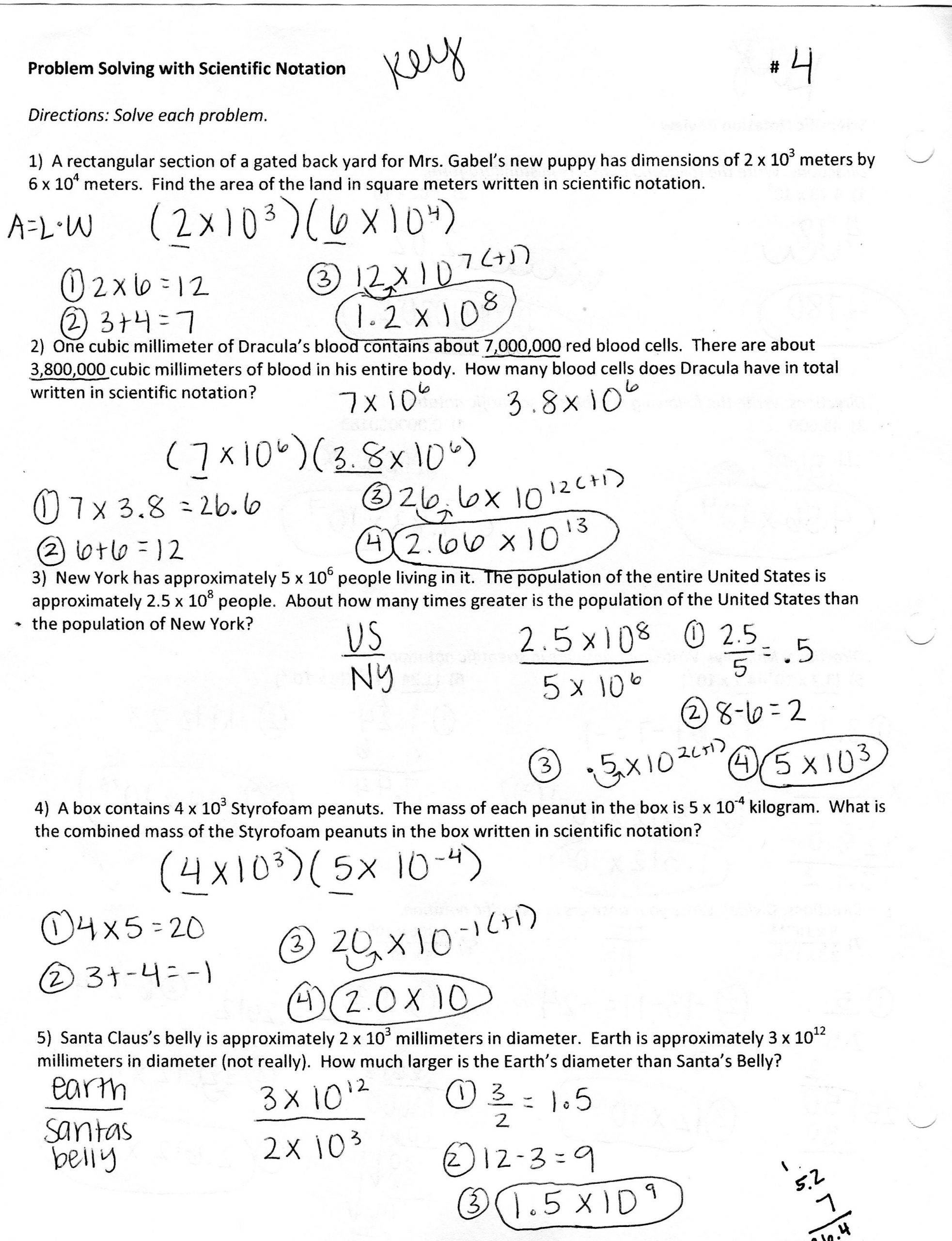 Operations with Scientific Notation Worksheet