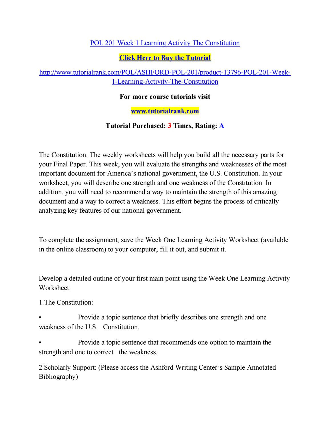 Outline Of the Constitution Worksheet