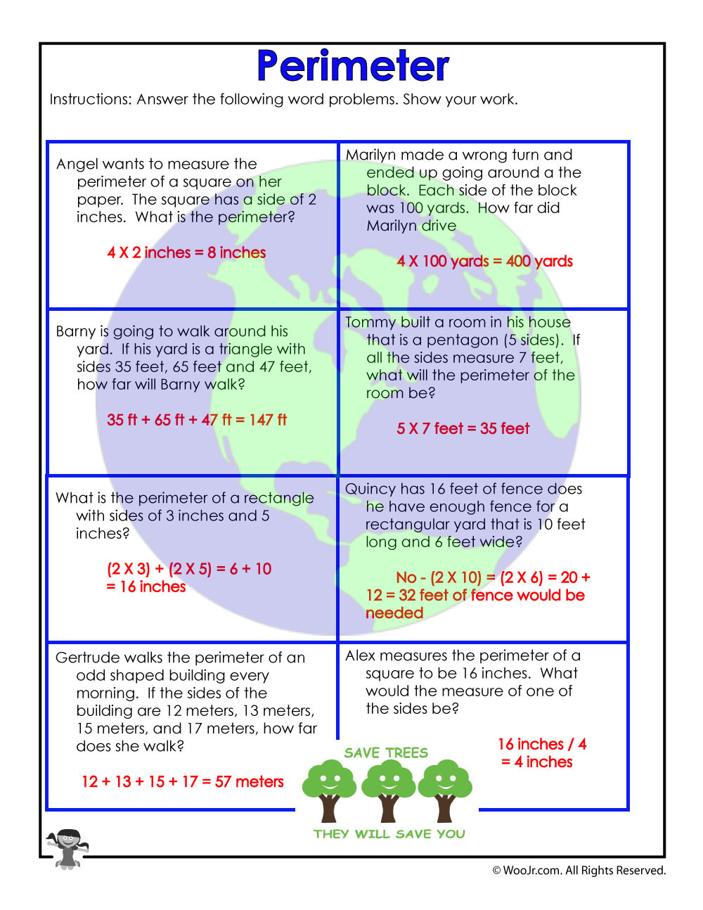Calculate Perimeter Math Word Problems Answer Key