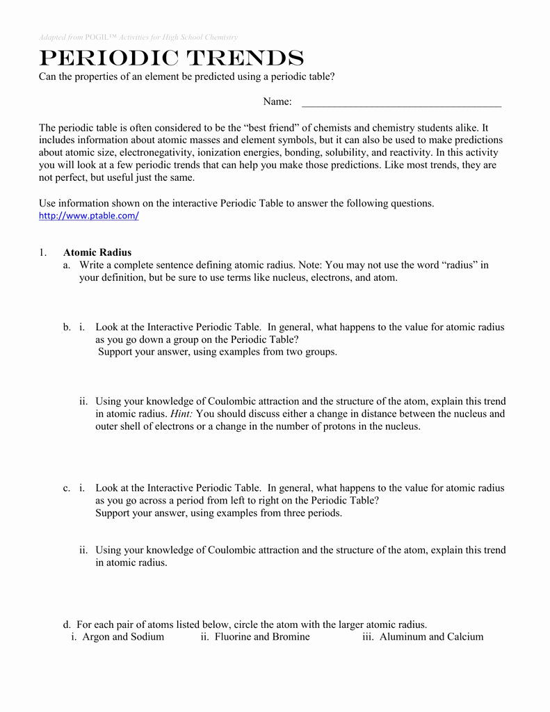 50 Periodic Trends Worksheet Answer Key in 2020