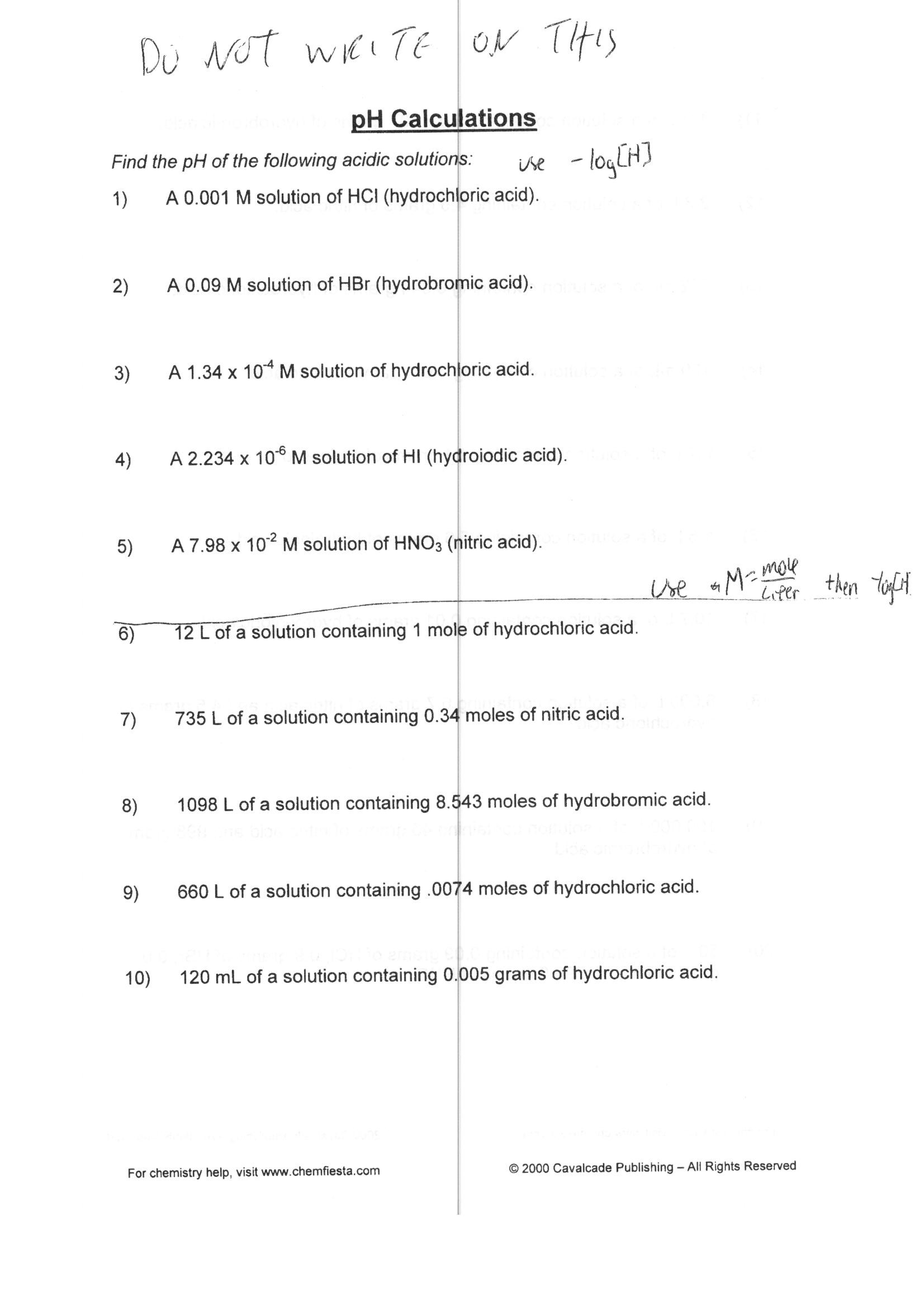 Ph Worksheet Answer Key