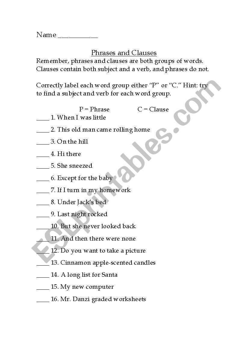 Phrase and Clause Worksheet