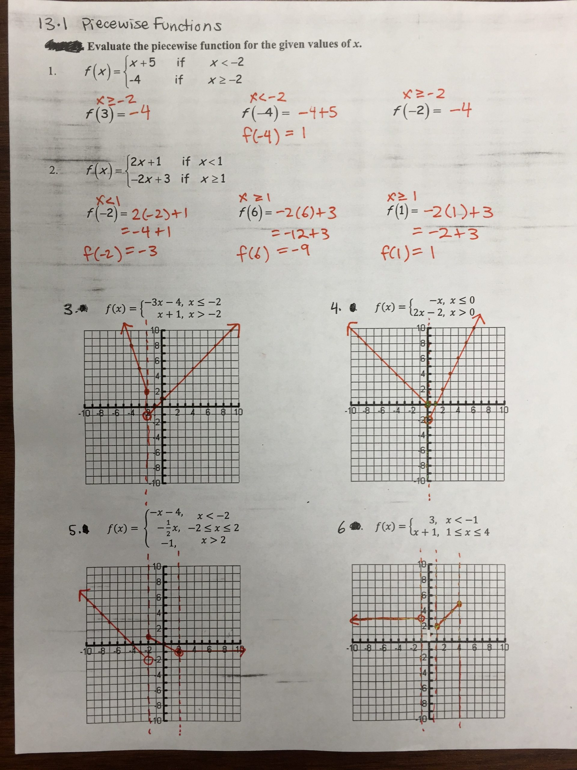 Worksheet Piecewise Functions Answers Key