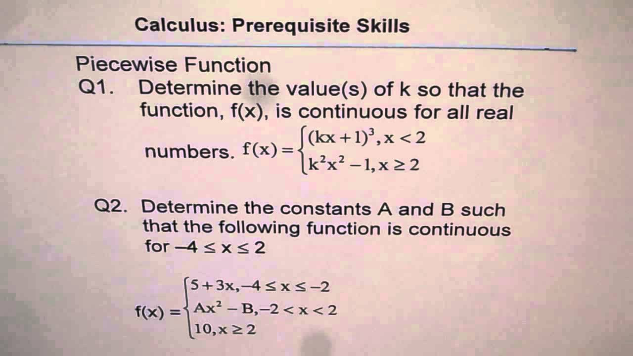 Piecewise Functions Worksheet with Answers