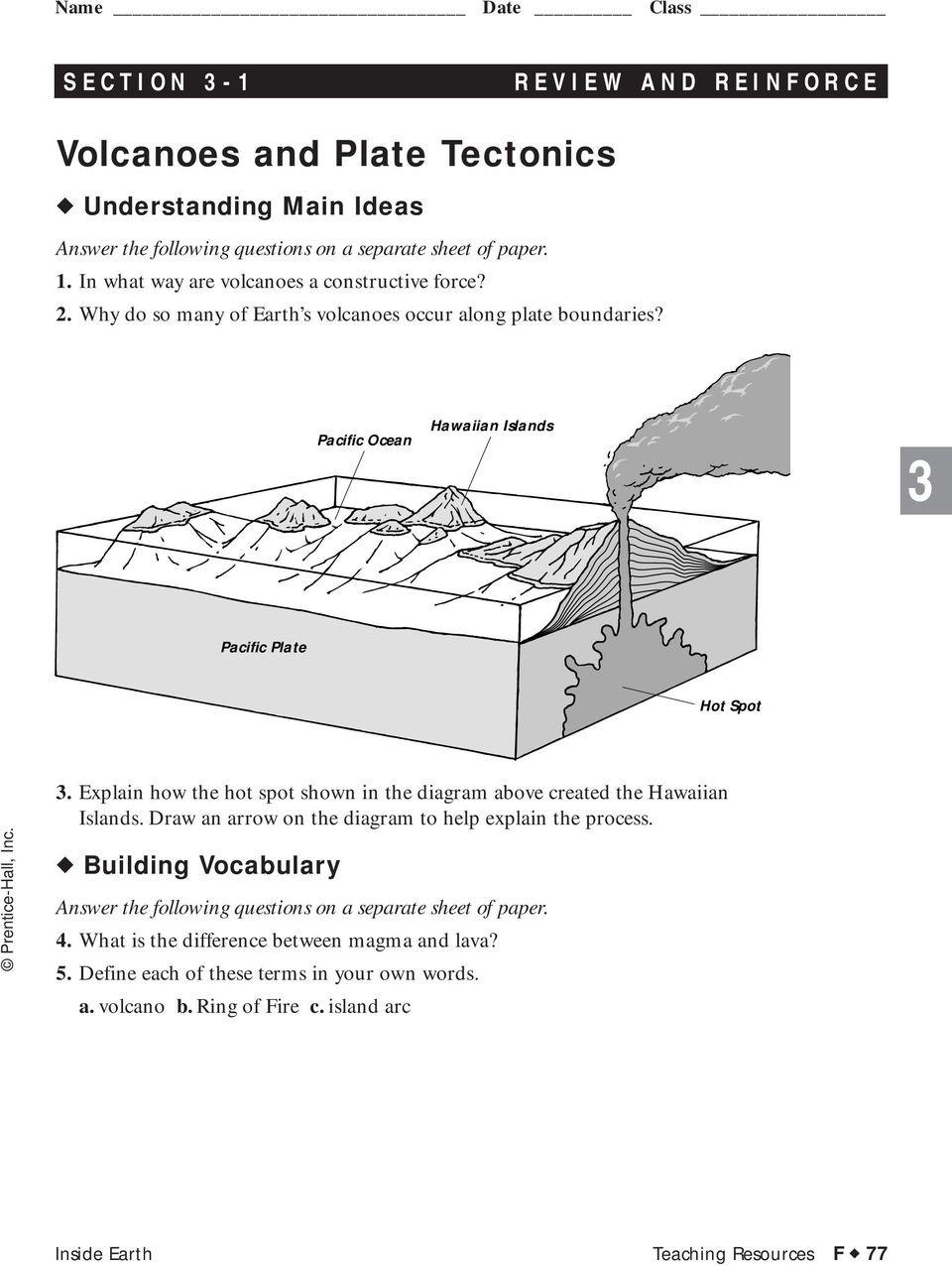 Plate Tectonics Worksheet Answer Key