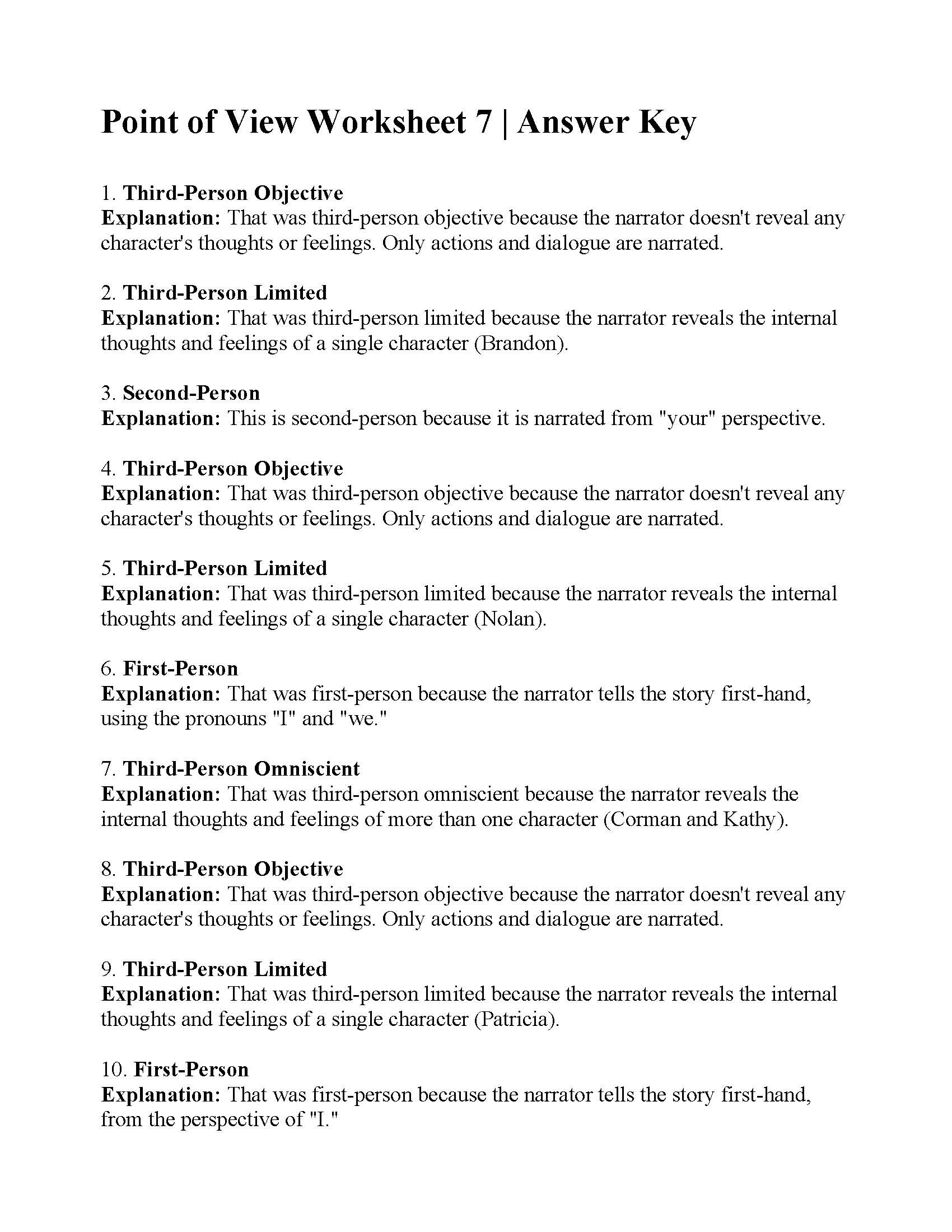 Point of View Worksheet 7