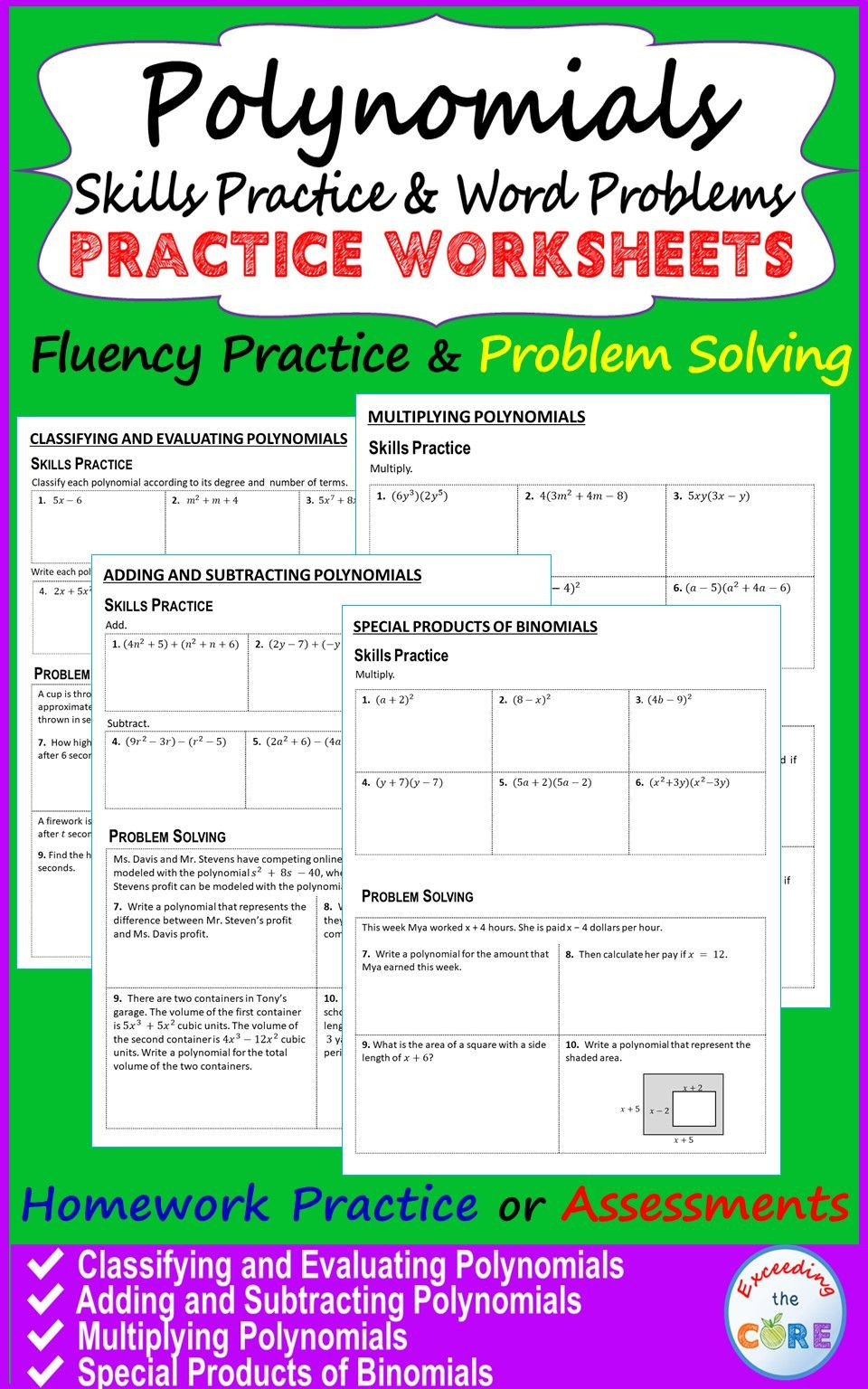 Polynomial Word Problems Worksheet