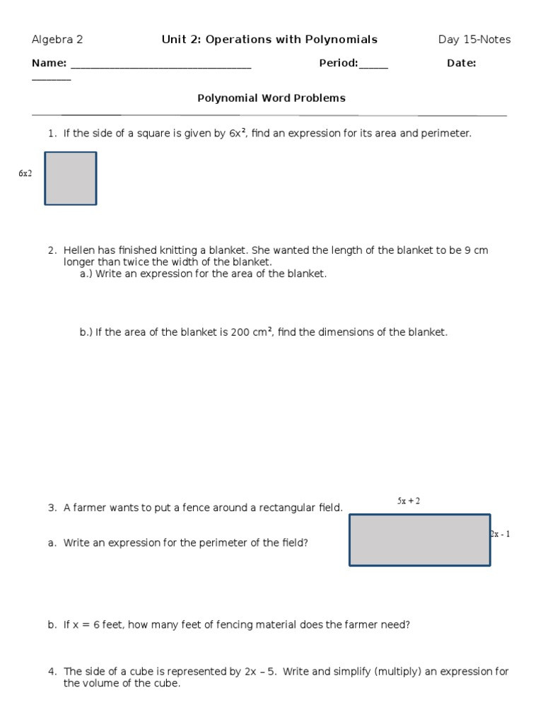 Polynomial Word Problems Worksheet Area