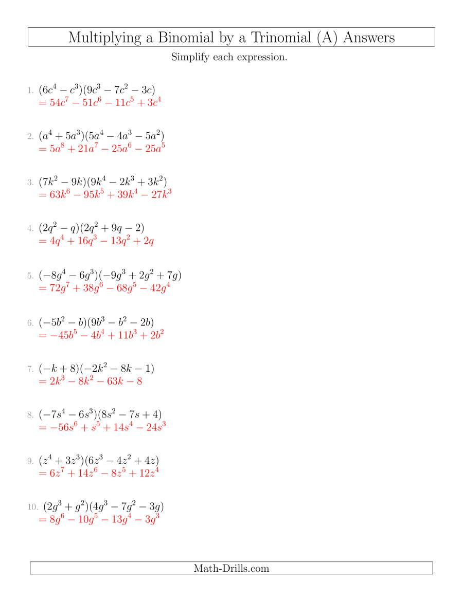 Polynomials Worksheet with Answers