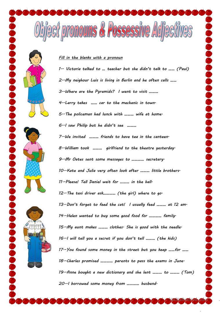 Possessive Adjectives Spanish Worksheet