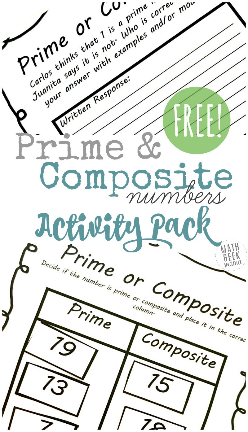 Prime and posite Numbers Worksheets FREE Activity Pack