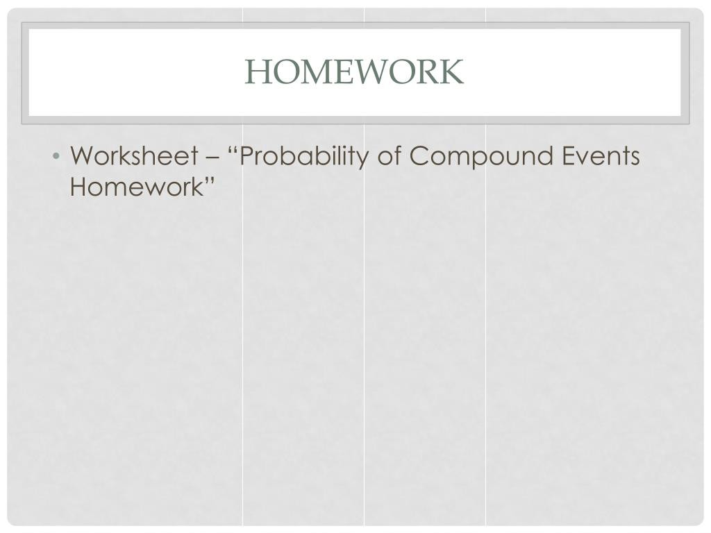 Probability Of Compound events Worksheet