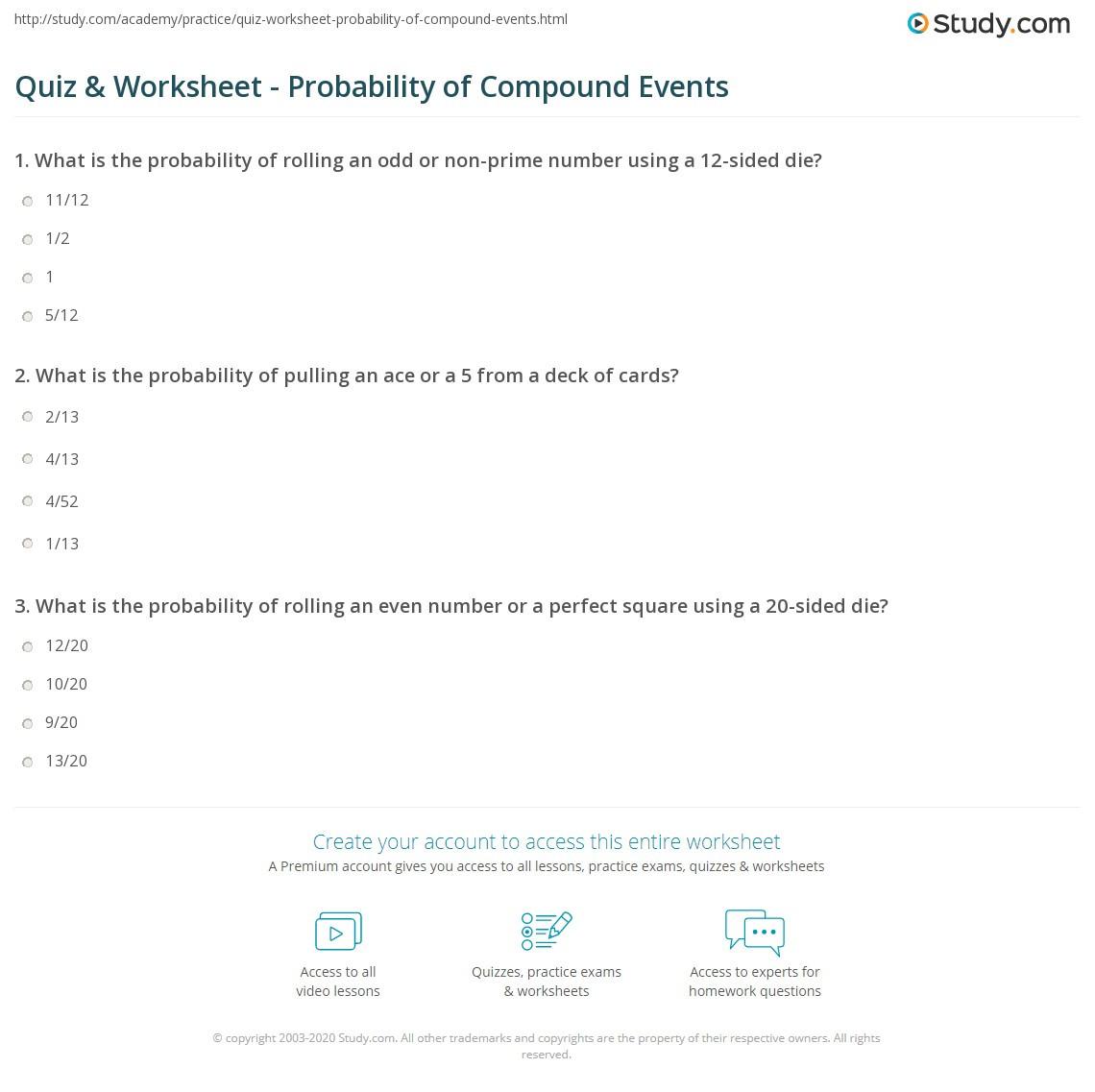 Quiz & Worksheet Probability of pound Events
