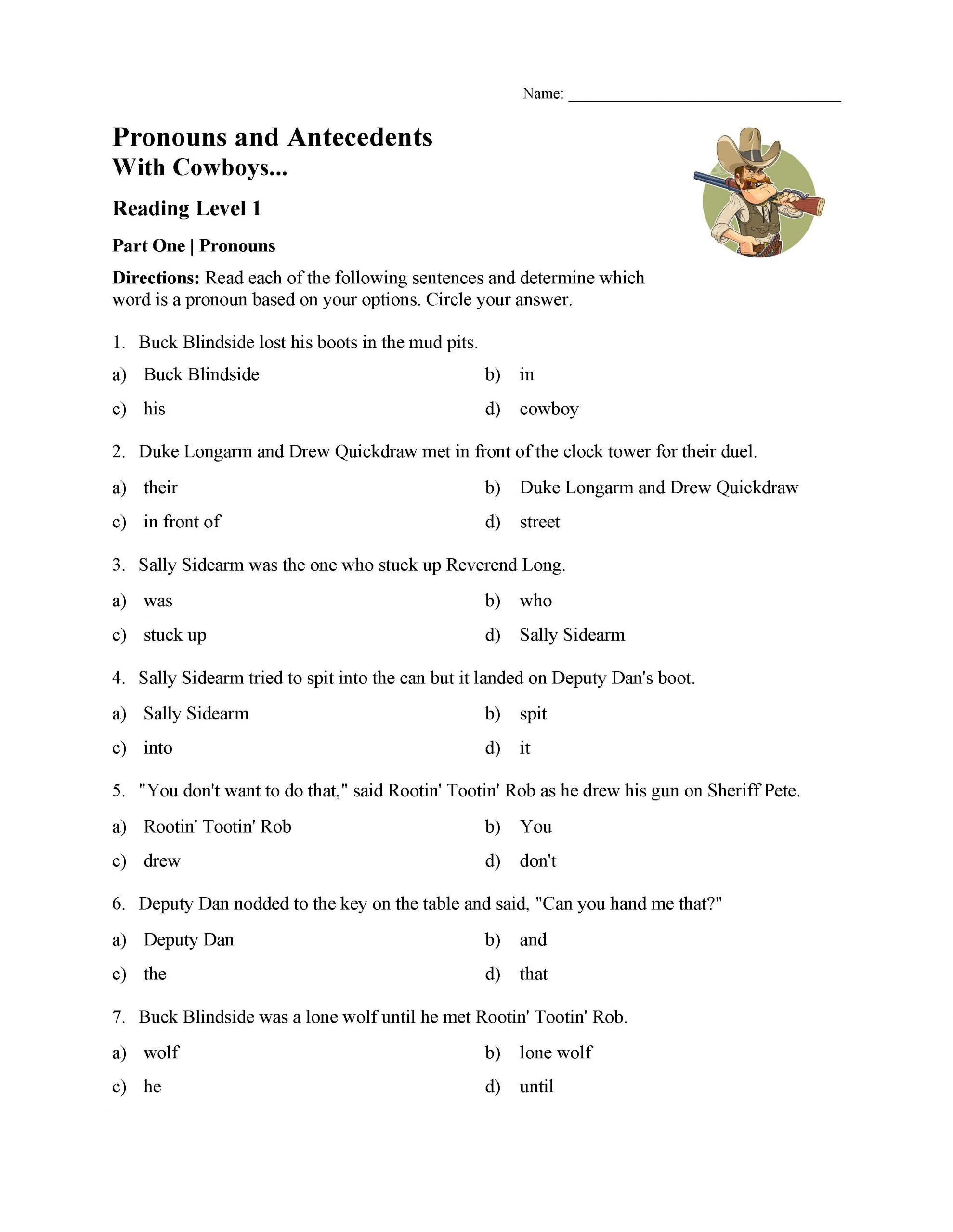 Pronoun and Antecedent Test With Cowboys