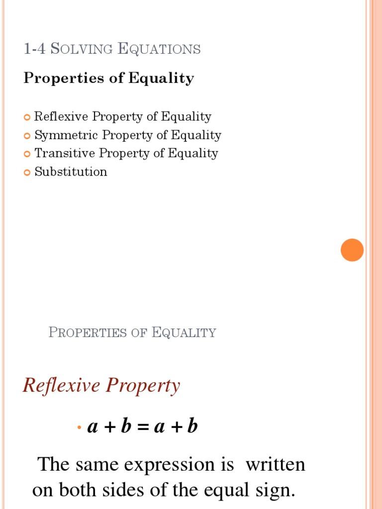 Properties Of Equality Worksheet