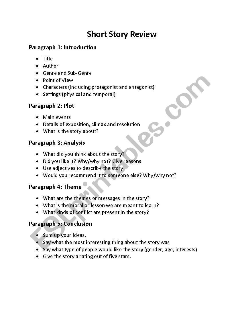 Protagonist and Antagonist Worksheet