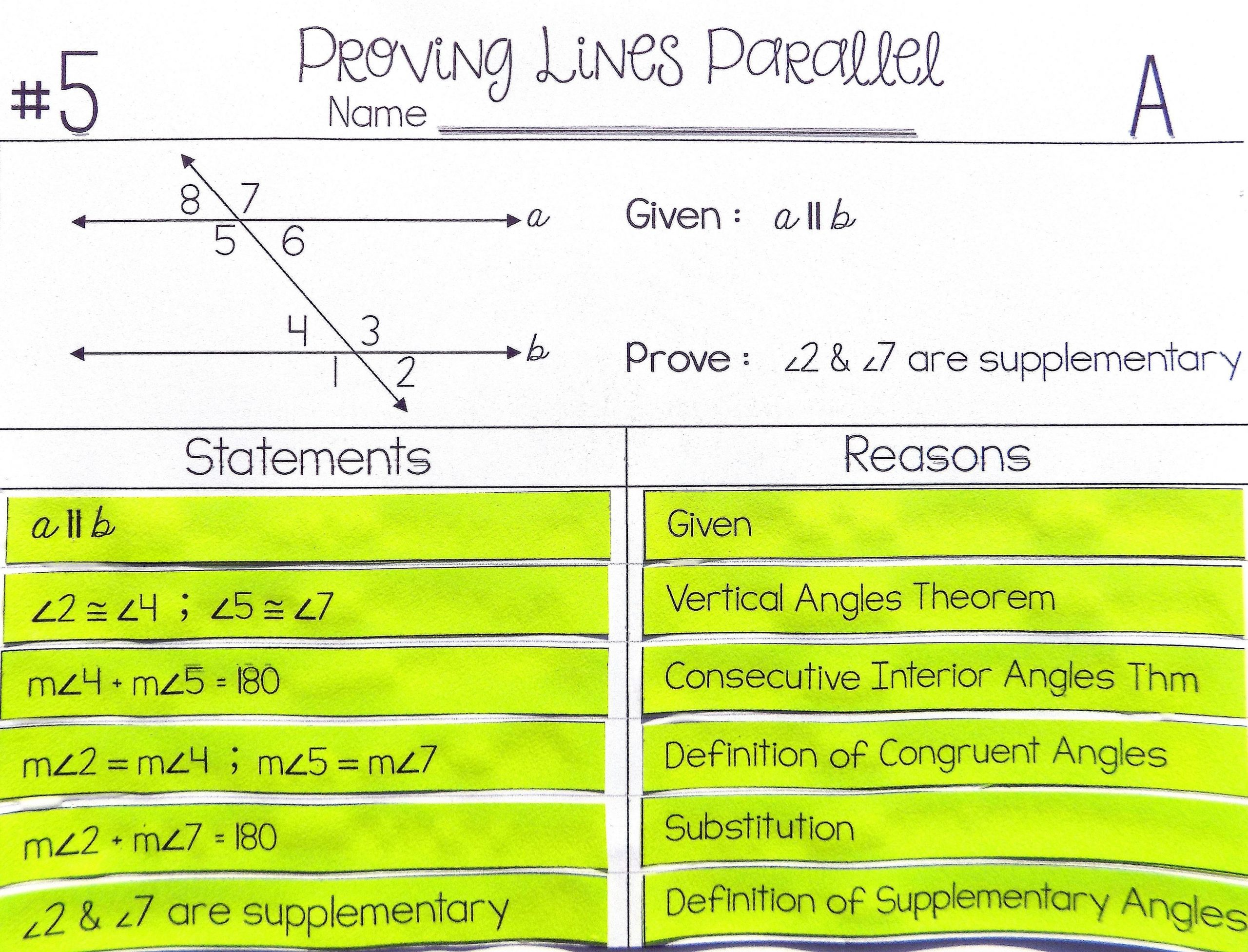 Proving Lines Parallel Proof Activity High School Geometry