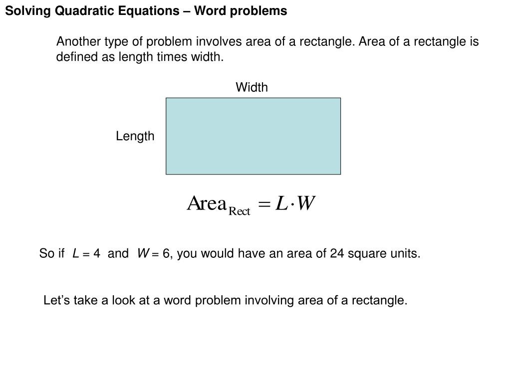 Quadratic Equations Word Problems Worksheet