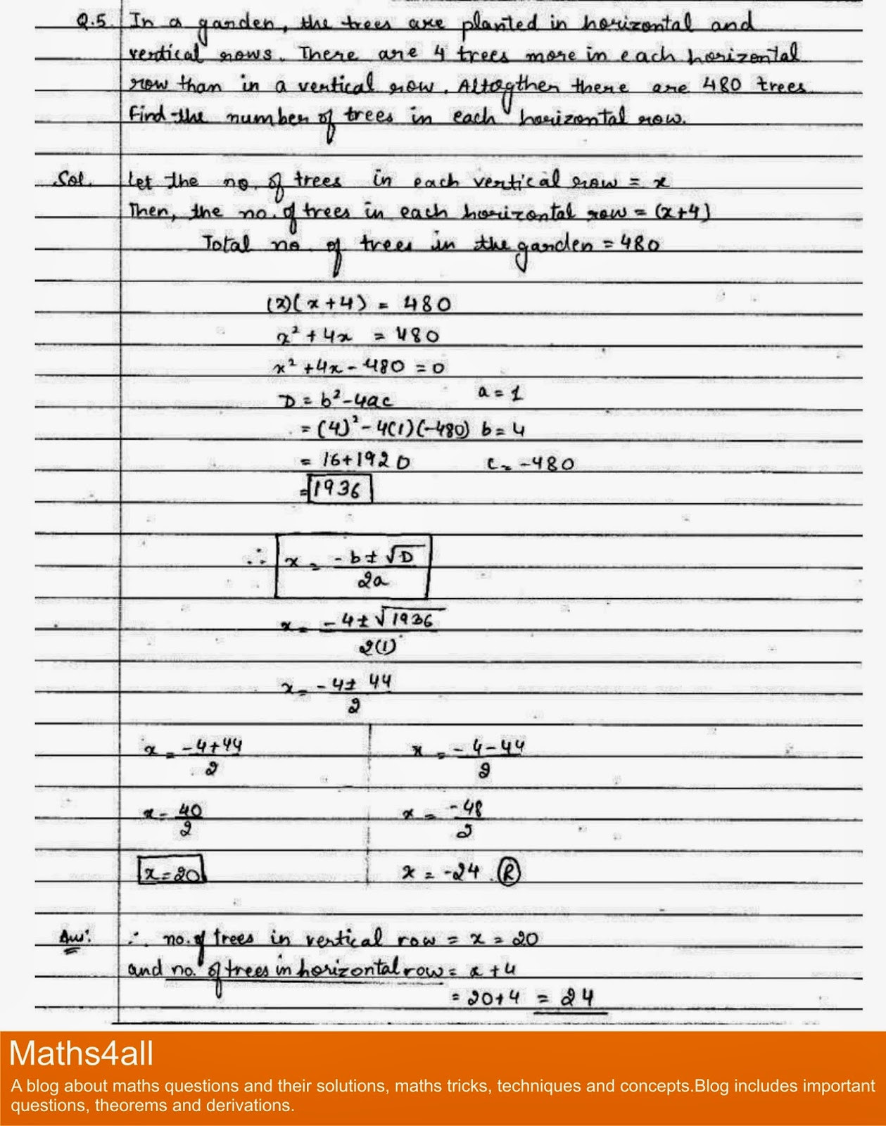 Quadratic Equations Word Problems Worksheet