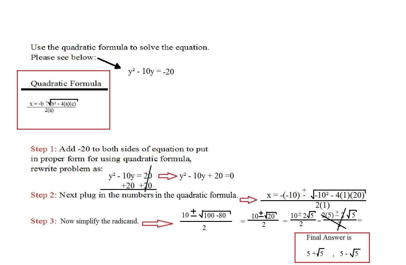 Quadratic formula Worksheet with Answers