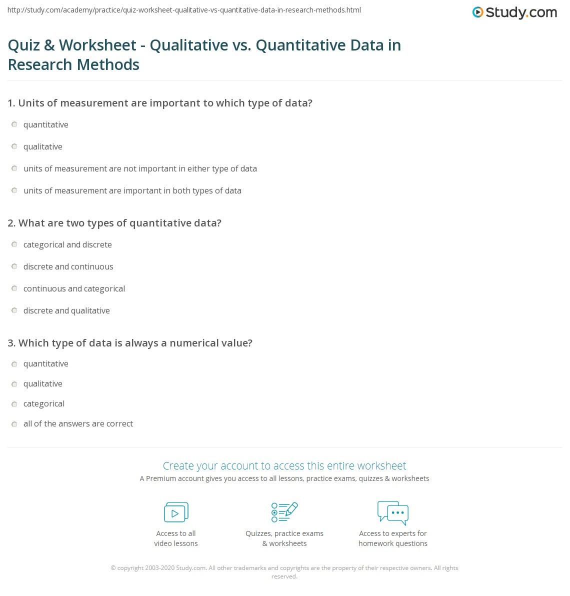 Quiz & Worksheet Qualitative vs Quantitative Data in