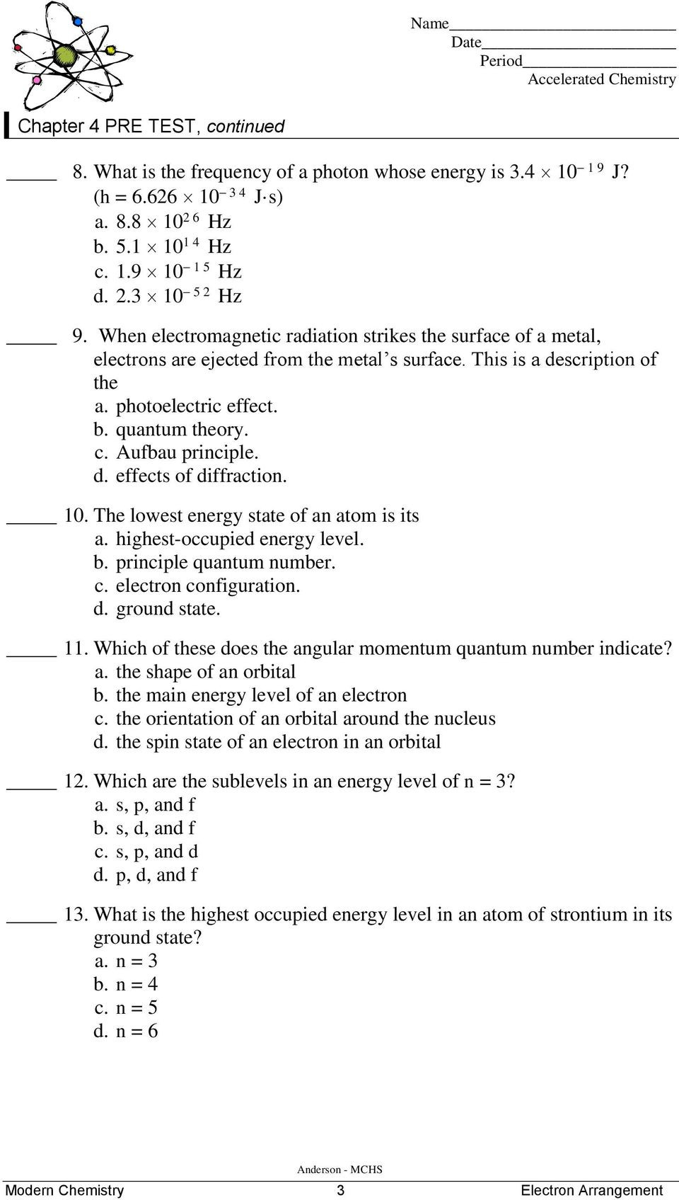 Quantum Numbers Worksheet Answers