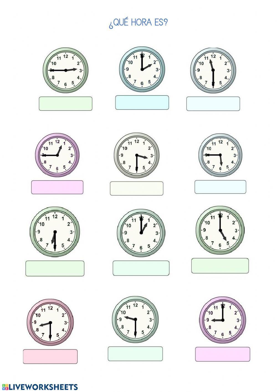 Que Hora Es Worksheet