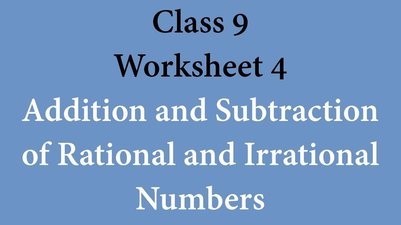 Rational or Irrational Worksheet