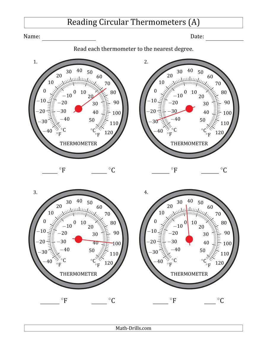 Reading A thermometer Worksheet