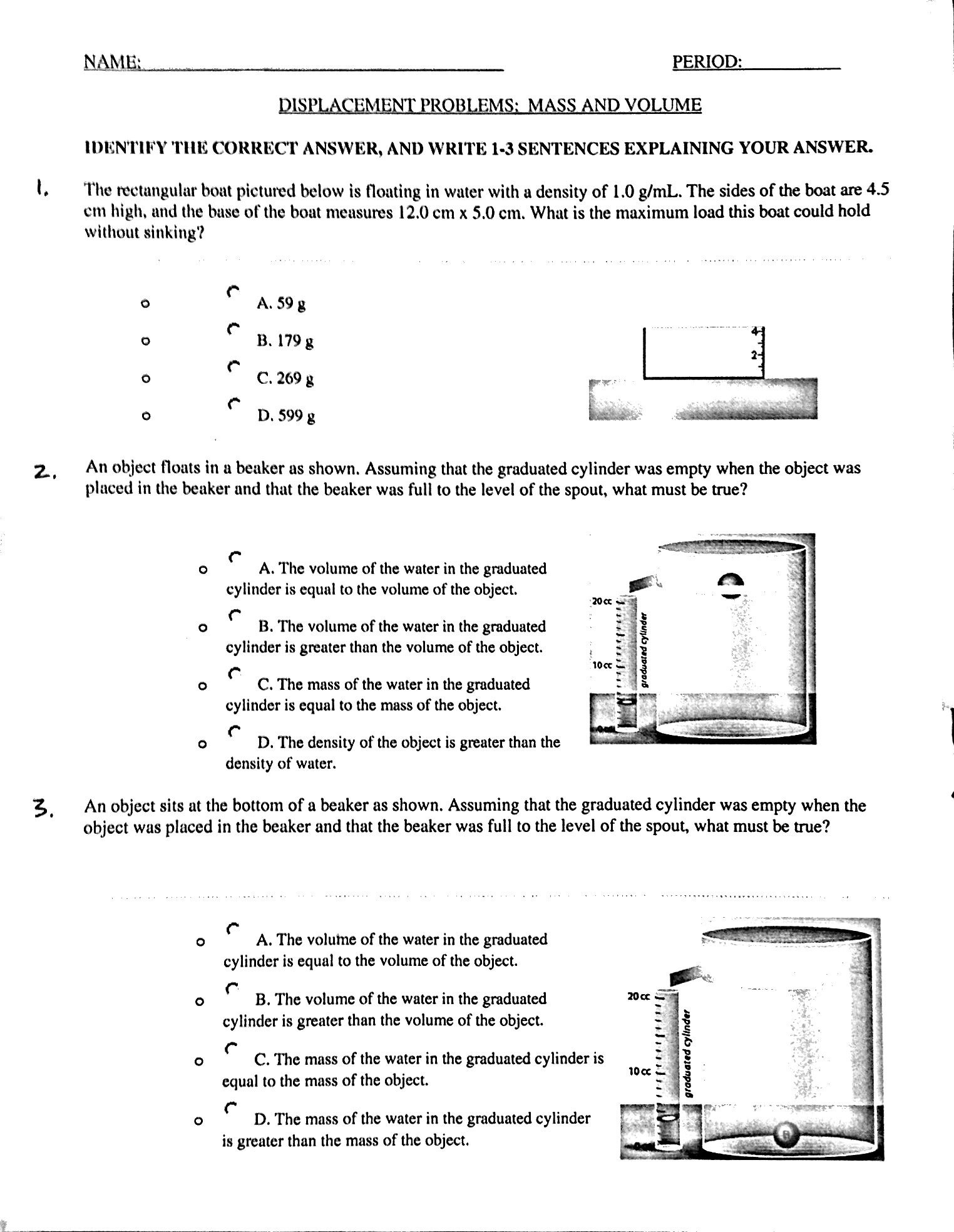 Reading Graduated Cylinders Worksheet
