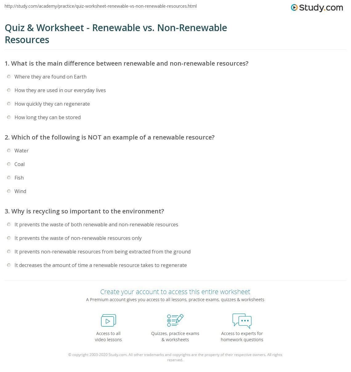 Renewable and Nonrenewable Resources Worksheet
