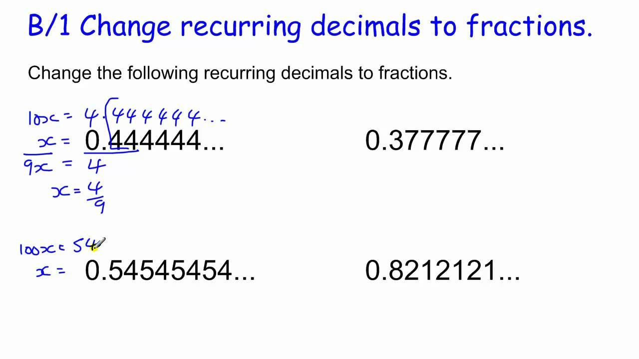 Repeating Decimal to Fraction Worksheet