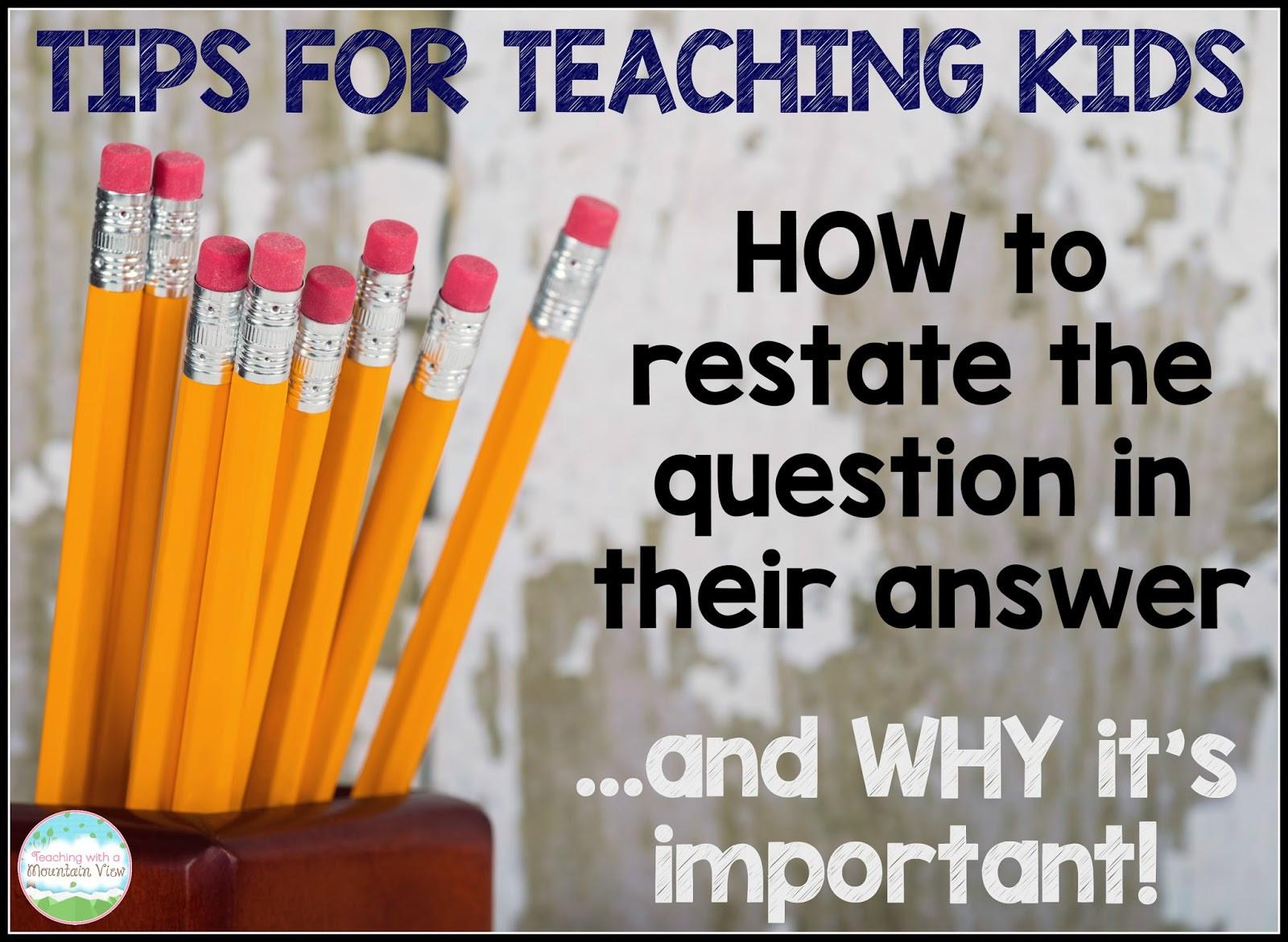 Restating the Question Worksheet