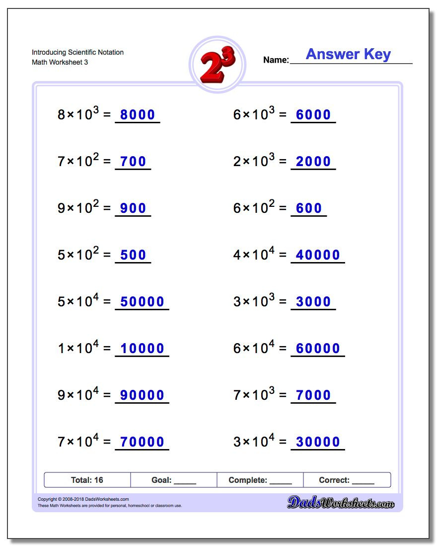 Scientific Notation Worksheet Answers