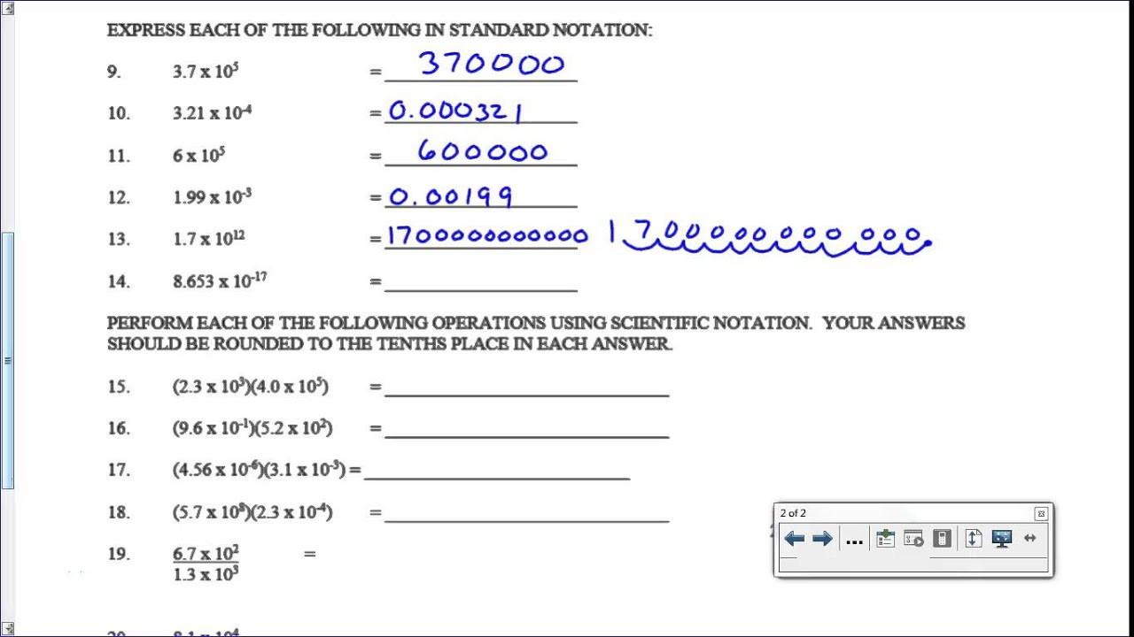 Scientific Notation Worksheet Key