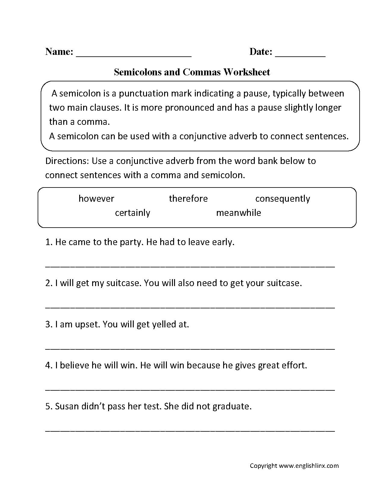 Semicolon and Colon Worksheet