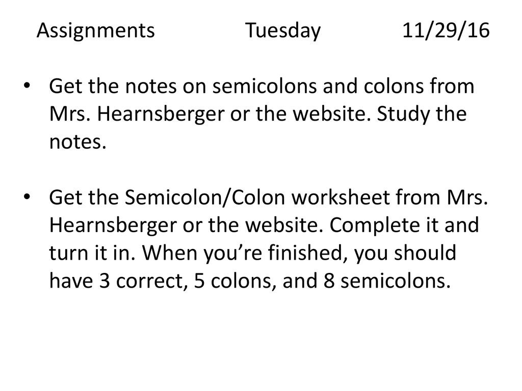 Semicolon and Colon Worksheet