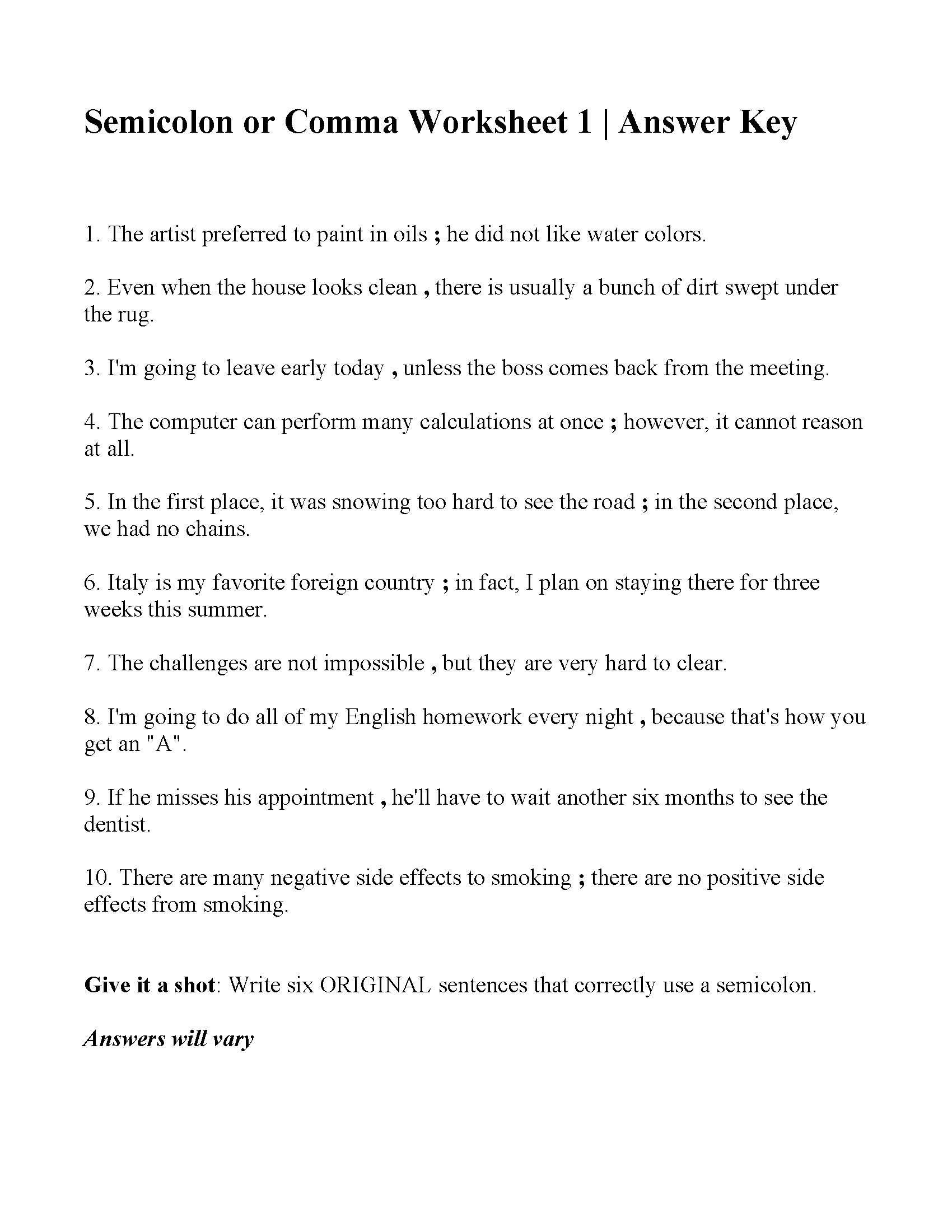 mas or Semicolons Worksheet 1