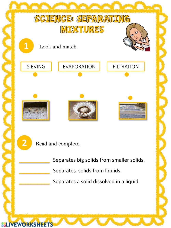 Separation Of Mixtures Worksheet