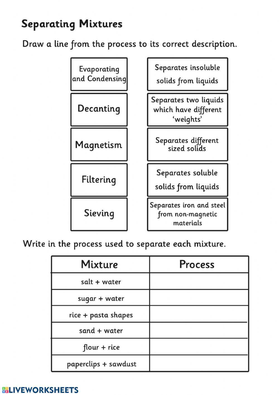 Separating Mixtures Interactive worksheet