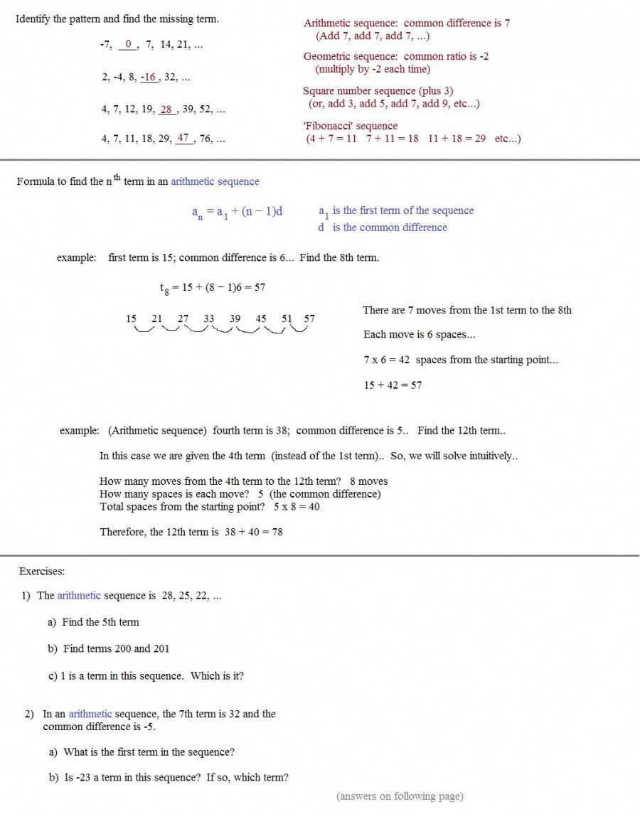 Sequences and Series Worksheet