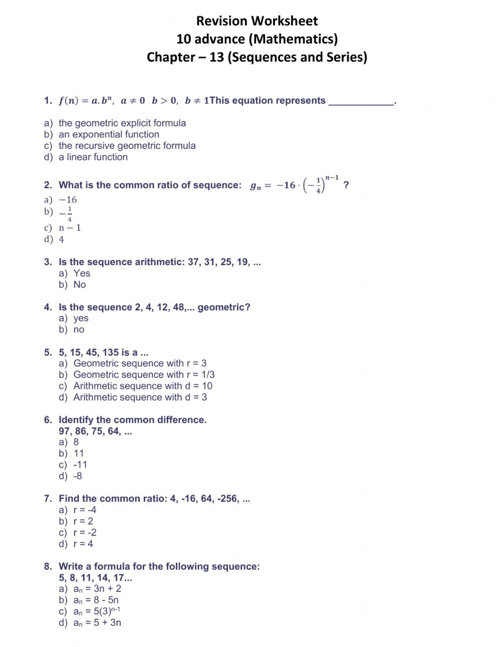 Sequences and Series CH 13 10A Interactive worksheet