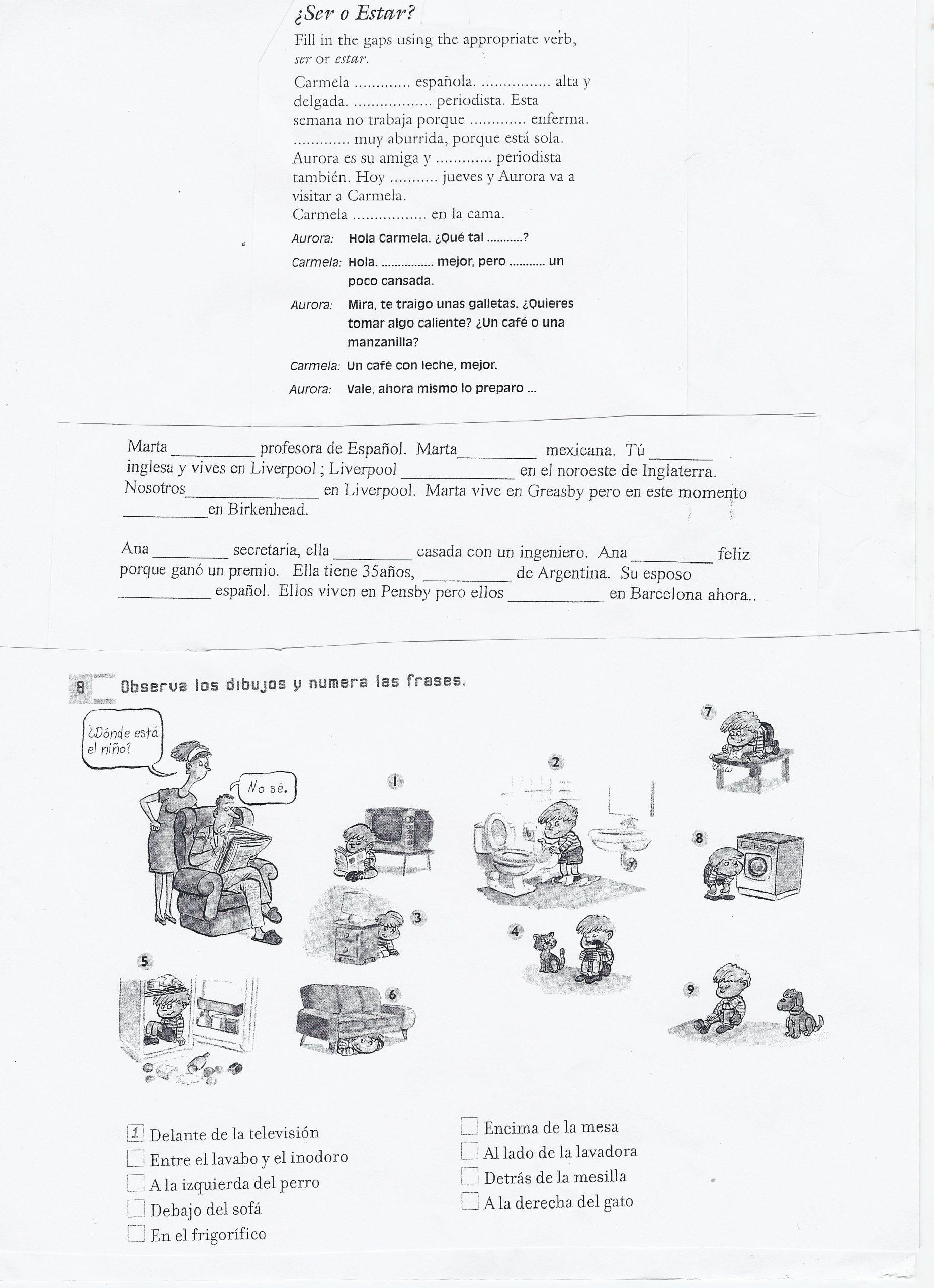 Ser and Estar Worksheet