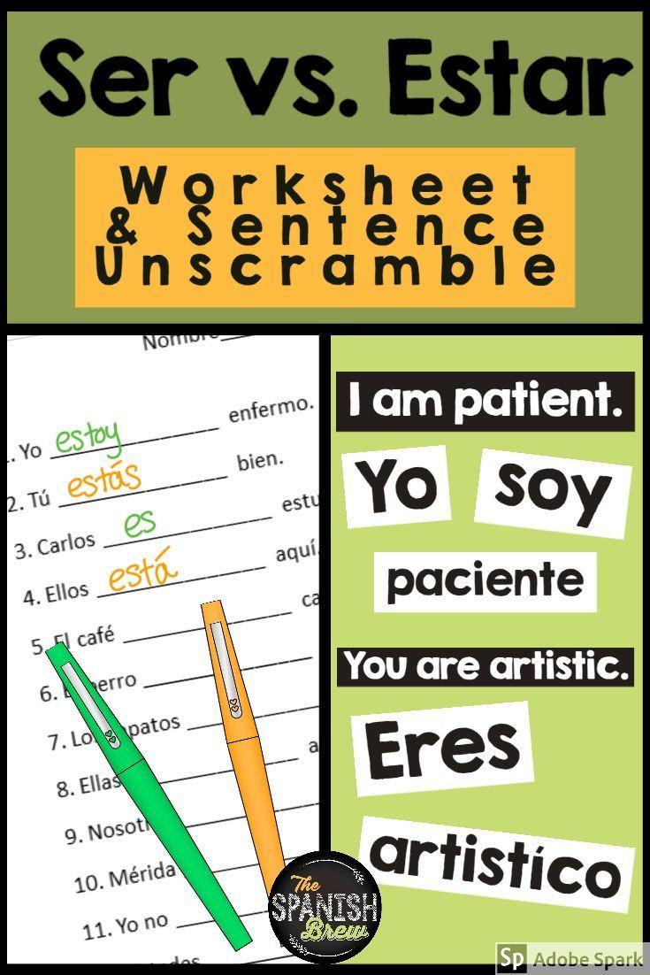 Ser Vs Estar Worksheet