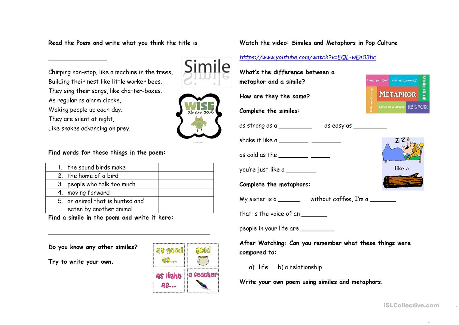 Simile and Metaphor Worksheet