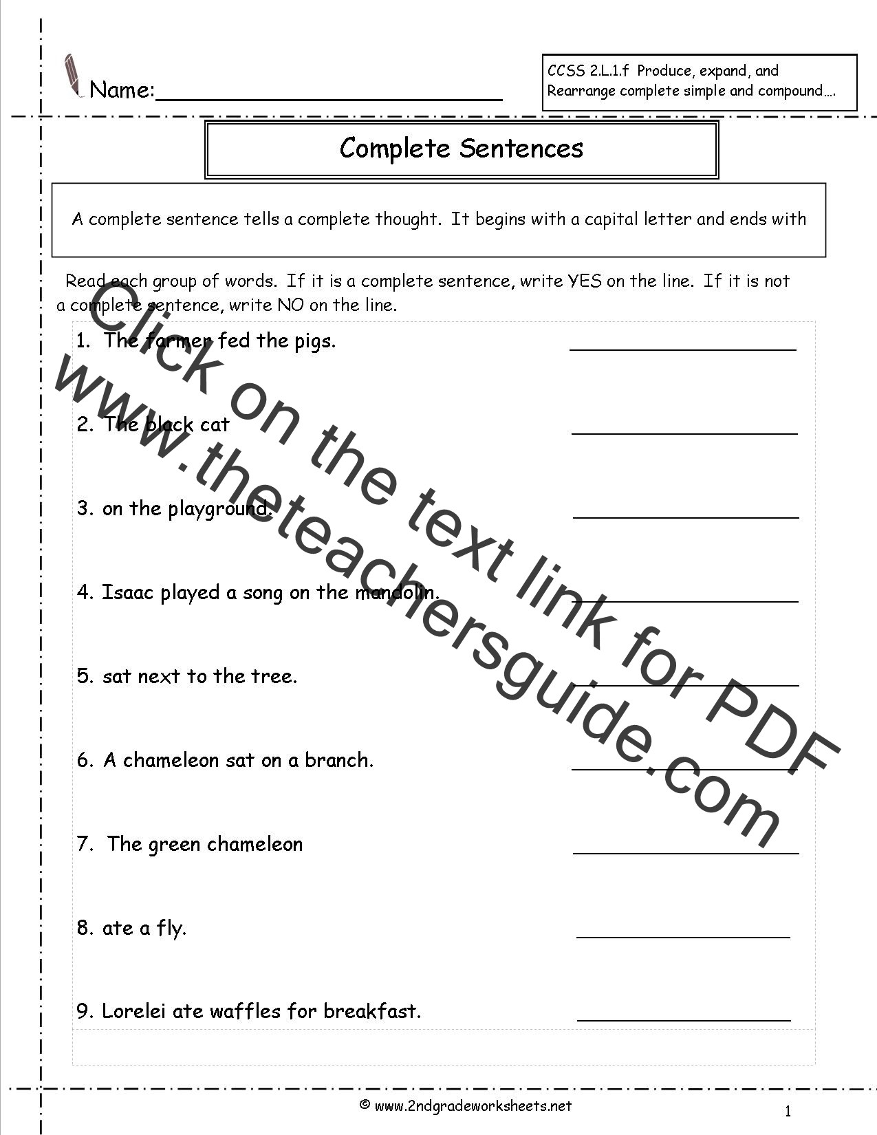 Simple and Compound Sentence Worksheet