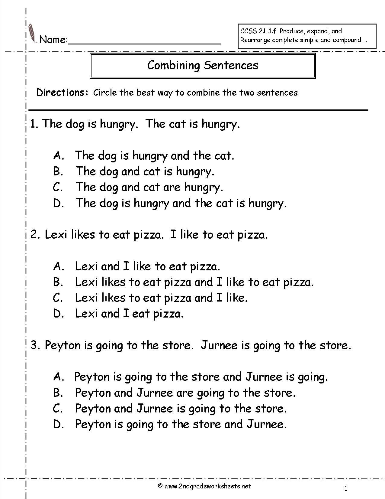 Simple and Compound Sentences Worksheet